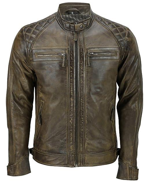 Los hombres marrón retro acolchado Nappa motorista de la chaqueta de cuero