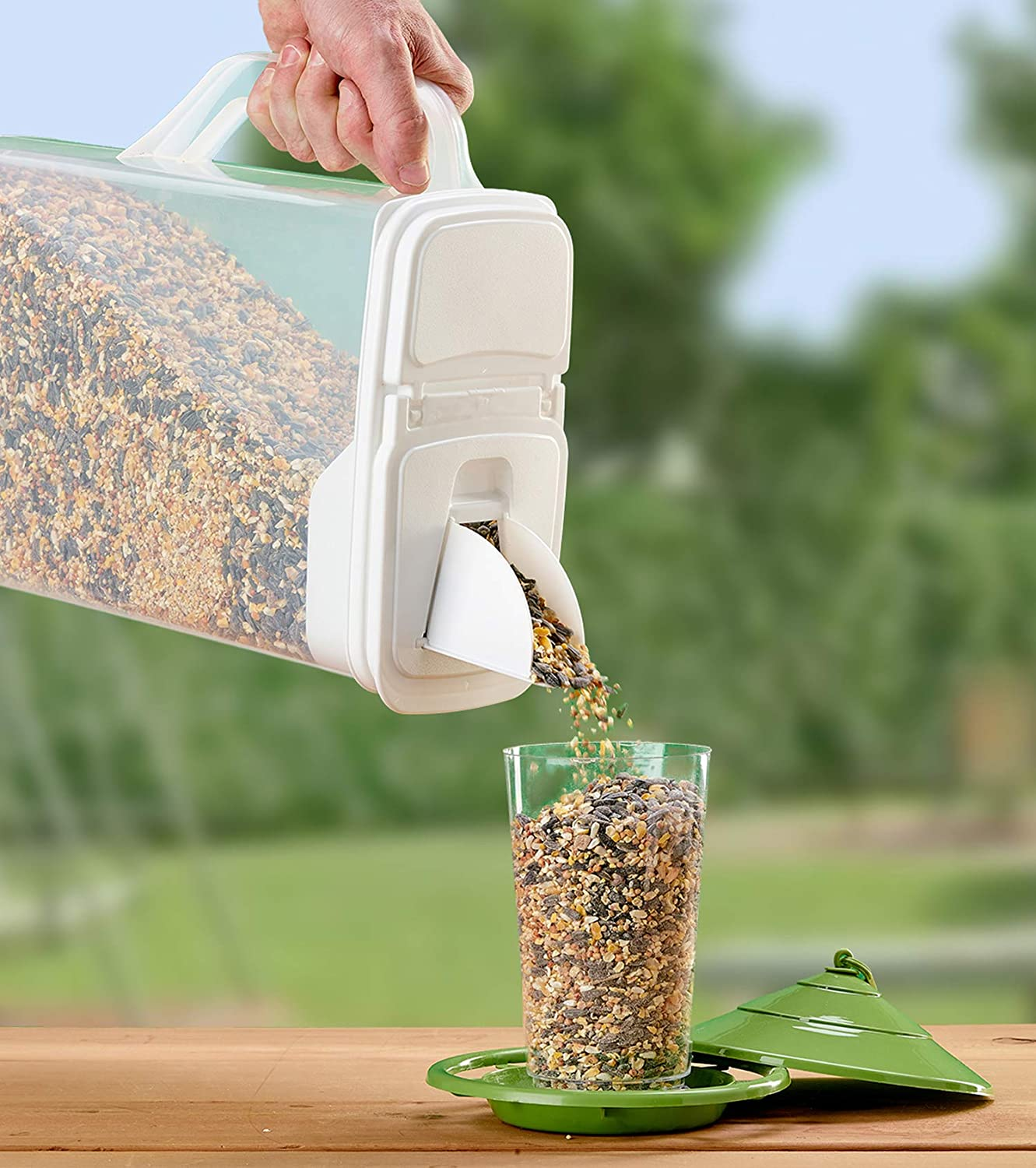 Buddeez 8QtPet Food / Bird Seed Storage Container and Dispenser - Flip Lid /Pour Spout with Durable Handle
