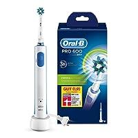 Oral-B Pro 600 Elektrische Zahnbürste, mit Timer und CrossAction Aufsteckbürste, weiß