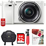 "Sony Alpha a6000 24.3MP White Interchangeable Lens Camera + 16-50mm Lens (ILCE6000L/W) w/32GB Bundle Includes,Digital Camera Padded Carrying Case +12"" Rubberized Spider Tripod +32GB SDHC Memory Card"