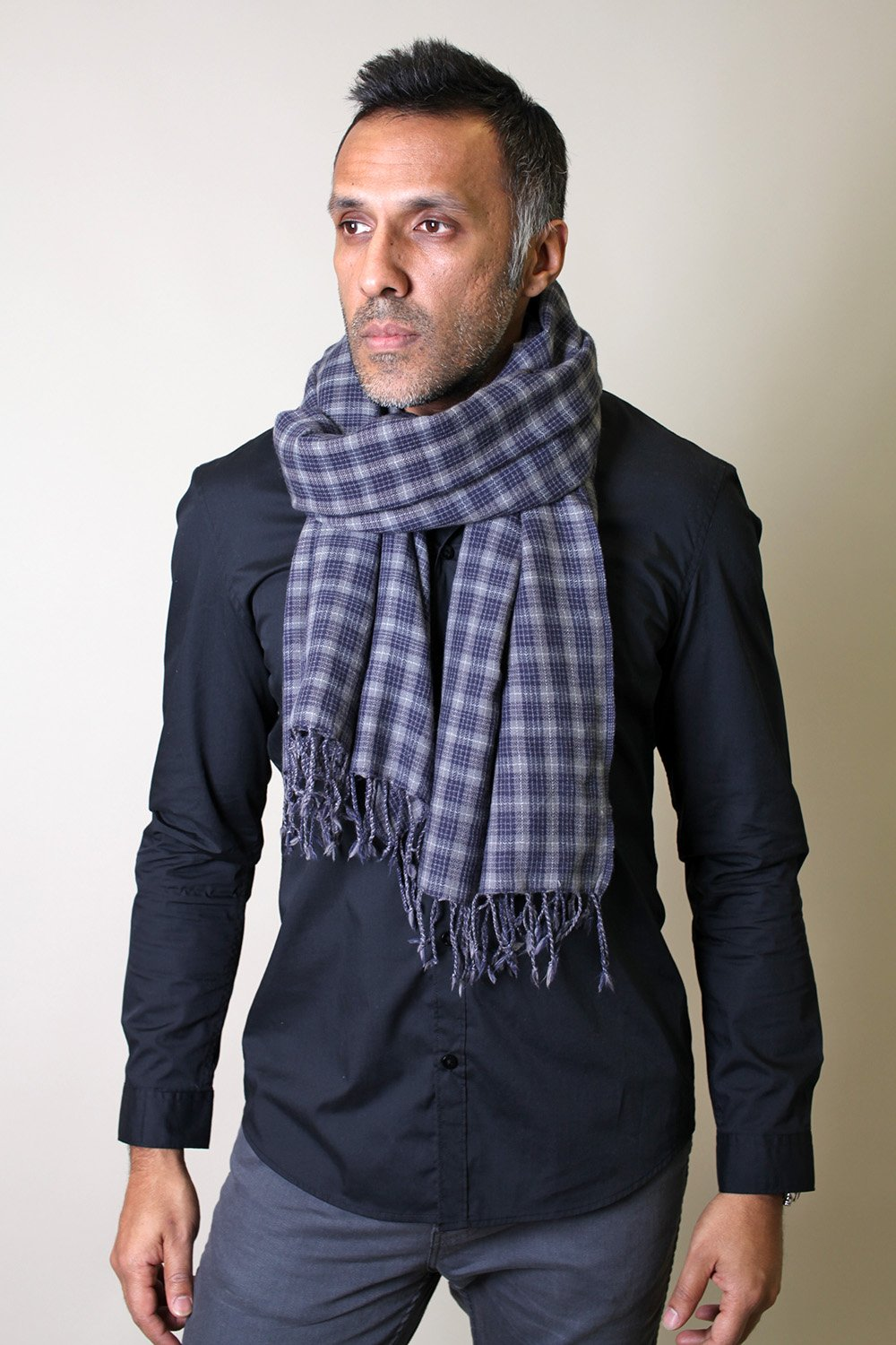 Anika Dali Men's Marco Check Plaid Scarf in Soft Wool with Tassels by Anika Dali (Image #1)