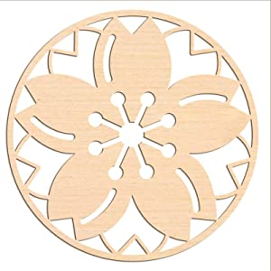 GLOBLELAND 12Inch Cherry Blossoms Crystal Grid Wooden Wall Art Sacred Geometry Home Decor, Laser Cut Wooden Wall Sculpture for Wall Hanging Decor Art Home Decoration