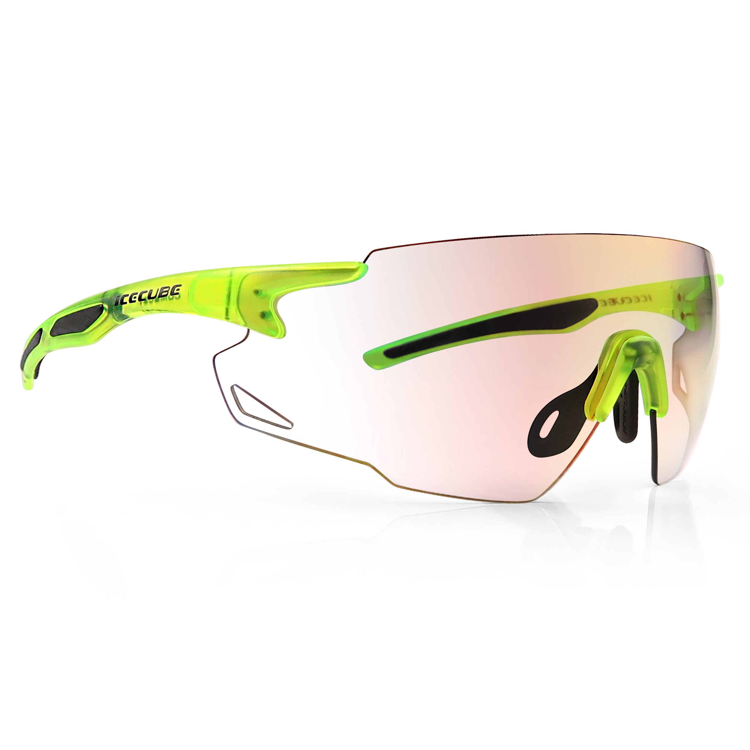 ICECUBE Asian Fit Photochromic Sports Sunglasses | Men or Women| UV Protection | TR90 Ultra Light | Suitable for Running, Driving, Beach, Fishing - COMBUST (Matte Crystal Neon Yellow, Red Mirror)