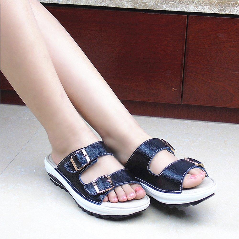 SUNROLAN Demi Women\'s Slide Sandal Strap Buckle Slip On Shoes Wedge Platform Sandals US6 Black