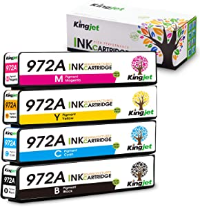 Kingjet Compatible Replacements for 972A / 972X Ink Cartridges Work with PageWide 377dw; PageWide Pro 477dn, 477dw, 577dw, 577z, 552dw, 452dn, 452dw Printers, 1Set(1BK 1C 1M 1Y)