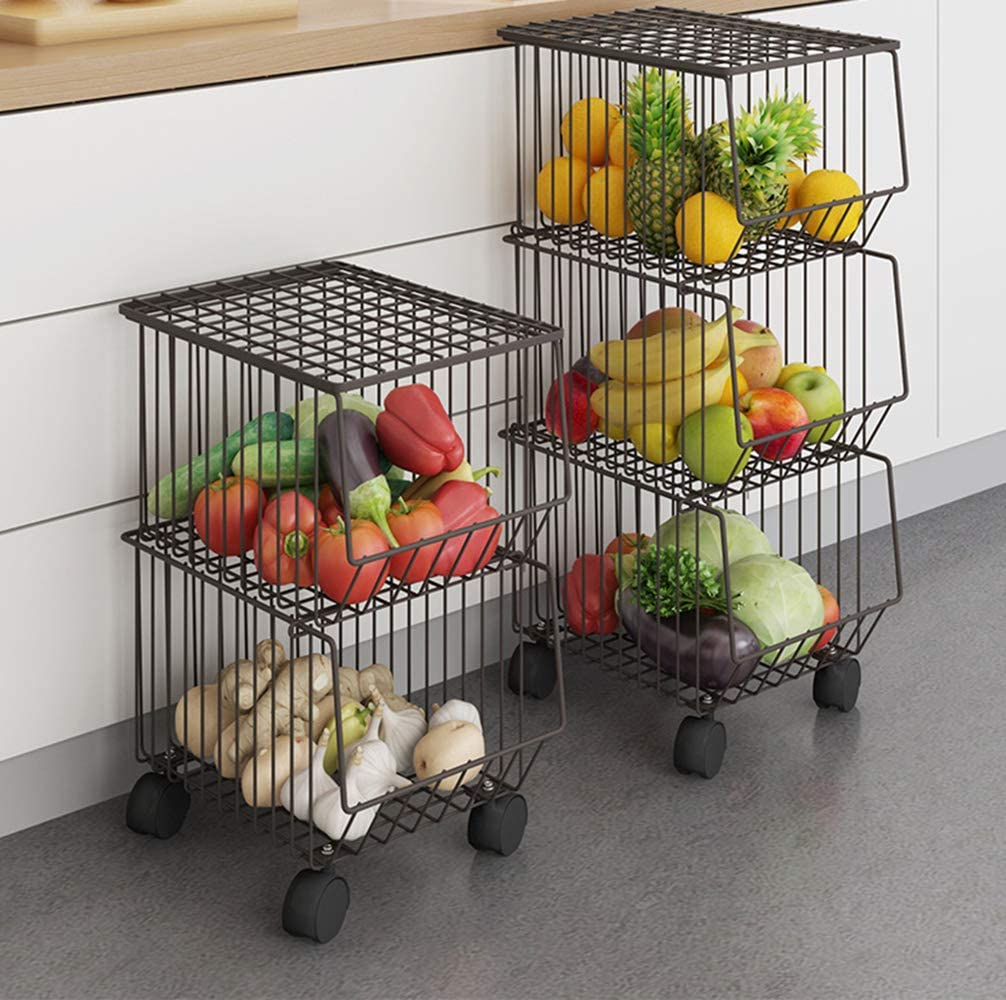 WHIFEA Metal Wire Basket with Wheels and Cover, 3 Tier Stackable Rolling Fruit Basket Utility Rack, Storage Organizer Bin for Kitchen, Pantry Closet, Bedroom, Bathroom