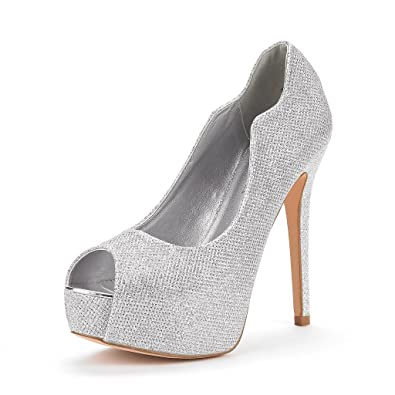 b6e19fc1876 DREAM PAIRS Women s Swan-25 Silver High Heel Plaform Dress Pump Shoes Size  7 M