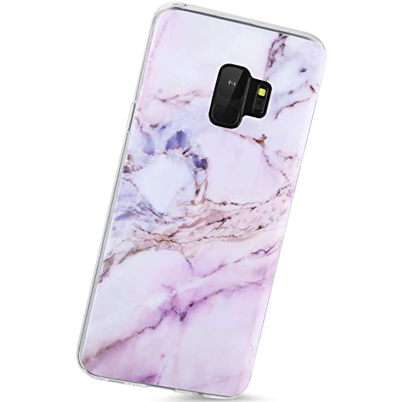 half off 04357 2b236 VIVIBIN Samsung Galaxy S9 Case Purple Pink Marble design for  Women/girls,Slim-Fit Scratch Resistant Shock Proof Flexible Glossy Soft  Phone Case Cover ...