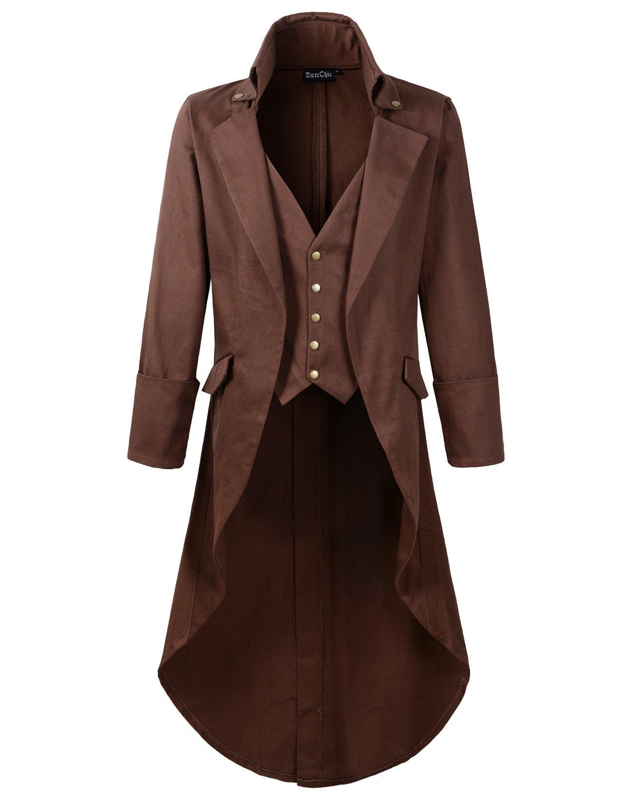 DarcChic Mens Gothic Tailcoat Jacket Black Steampunk VTG Victorian High Collar Coat (L, Brown)