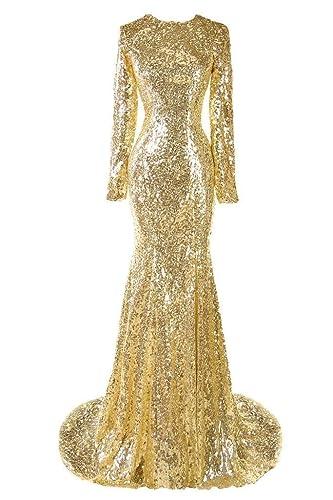 Sweet Bridal Women's Long Sleeve Sequins Long Evening Dress Party Dress