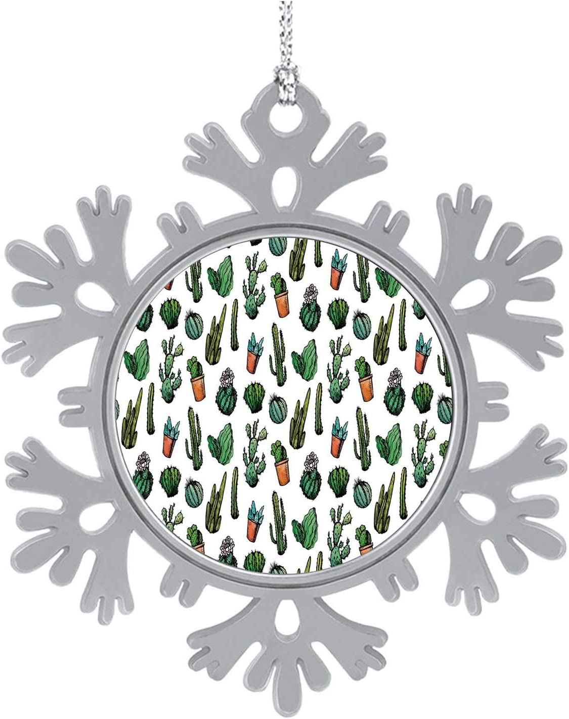 C COABALLA Cactus Dr,Cute 2020 Home Décor Hanging Snowflake Decorations Ornament Sketchy Spiked Mexican Garden Foliage Boho Hand Drawn Line Art Cacti in Pots Drative 8PCS
