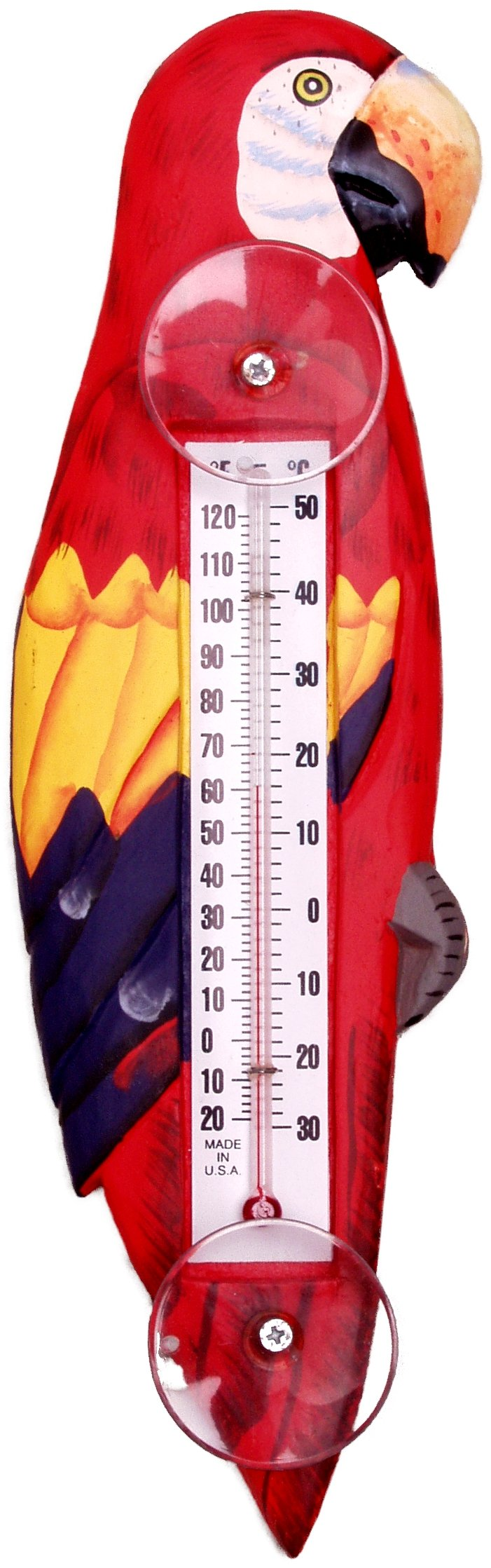 Songbird Essentials Red Parrot Large Window Thermometer