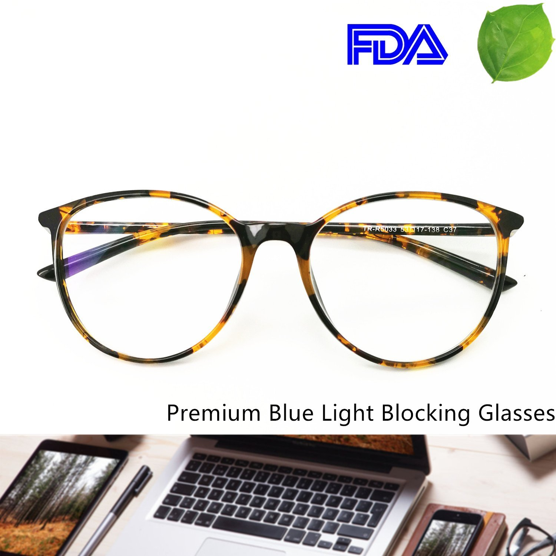 Blue Light Blocking Computer Glasses - Round Light Weight Comfortable Fit Anti Eye Strain Anti Glare UV 400