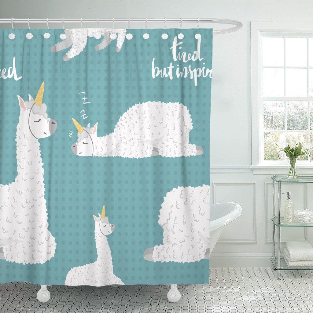 TOMPOP Shower Curtain America Cute Cartoon Lama Alpaca Unicorn Horn Polka Dot Waterproof Polyester Fabric 60 x 72 Inches Set with Hooks