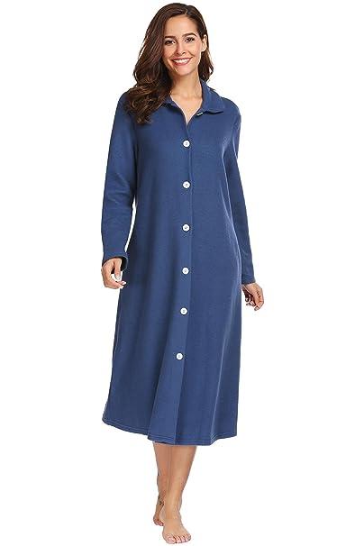 7bcc6f4edb Amazon.com  Ouyilu Women s Cotton Button Front Long Sleeve Loungwear Dressing  Gown Sleepwear Spa Bathrobe S-XXL  Clothing