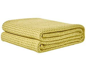 PHF Cotton Waffle Weave Bed Blanket Christmas Decorations Perfect for Bed Home Decor in Winter Queen Size Bright Yellow