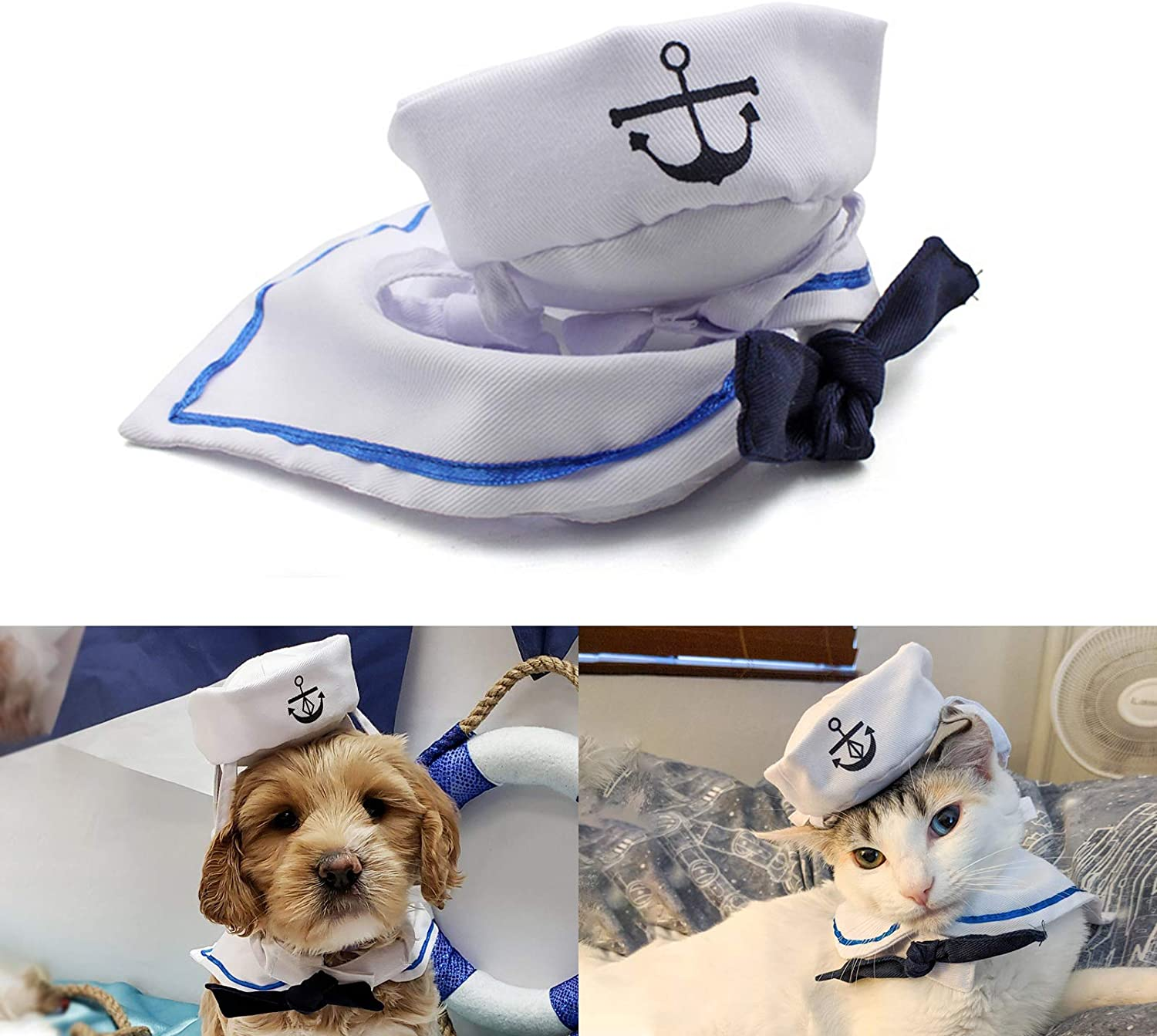 Amazon Com Enjoying Pet Sailor Party Costume Adjustable Tie Collar Navy Dog Hat Cat Sailor Outfit For Halloween Christmas Pet Supplies