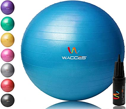 Wacces Yoga Ball with Hand Pump (Blue, 75 cm)