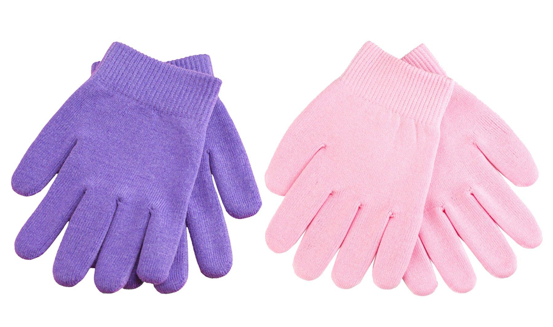 Moisturizing Gel Gloves Spa Gloves Cosmetic Moisturizing Gloves for Dry Hand (Pink-Purple)