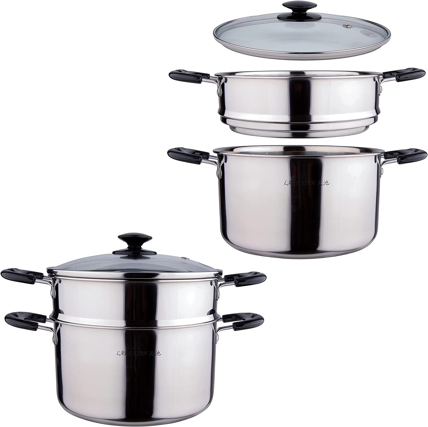 2 Tier Stainless Steel Universal Steamer with Lid, Stackable Cookware Food Steamer Pot For Cooking Pots/Saucepan, Dumpling Steamer, Vegetable Steamer, Multi-layer Dorm Apartment By LakeTian (5 qt)