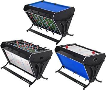 Strikeworth TriSport 4 - Mesa 3 en 1 Multi-Juego (Billar, futbolín y Air Hockey): Amazon.es: Deportes y aire libre