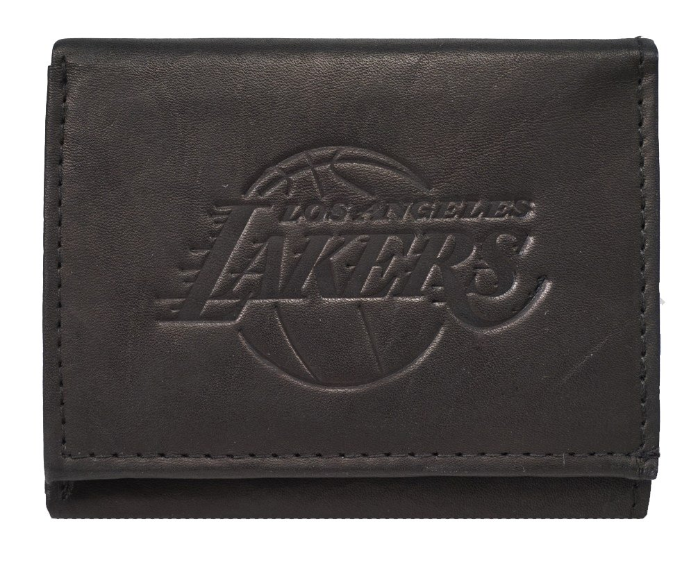Rico Los Angeles LA Lakers NBA Embossed Logo Black Leather Trifold Wallet
