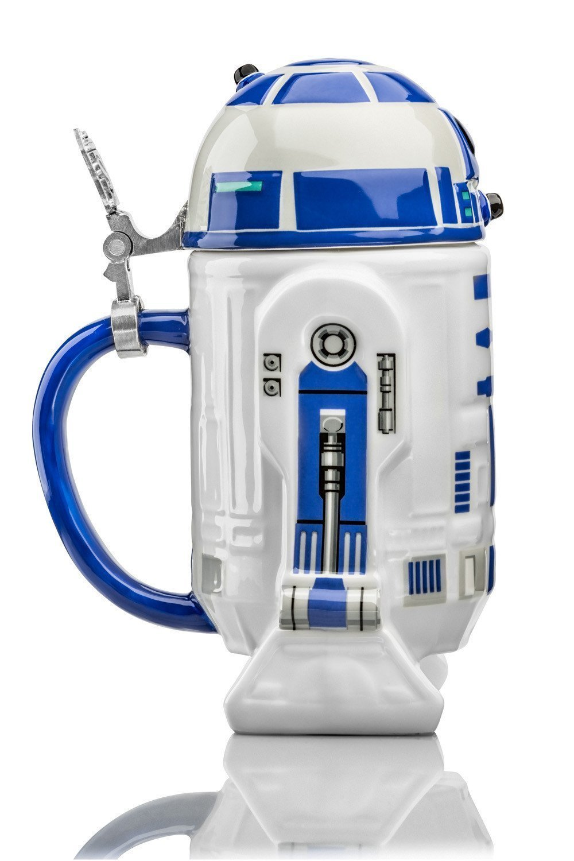 Lid german beer mug hinged lid gaming computer desk ideas - Amazon Com Star Wars R2 D2 Stein Collectible 32oz Ceramic Mug With Metal Hinge Beer Mugs Steins
