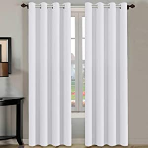 H.VERSAILTEX White Curtains 84 inches Long for Living Room Thermal Insulated Window Treatment Panels/Drapes - (White Color) - Set of 2 - Grommet Top