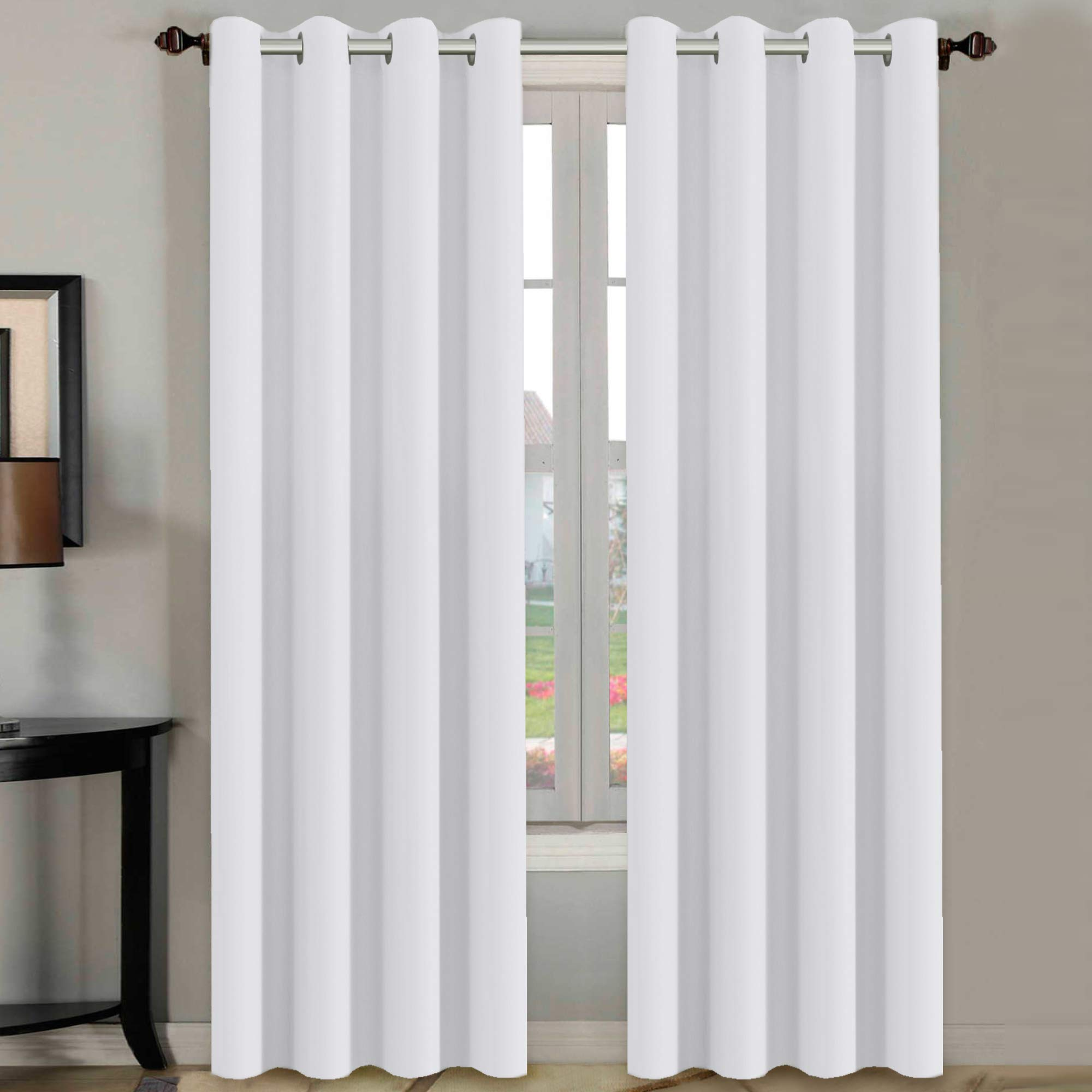 H.VERSAILTEX White Curtains 96 inches Long Window Treatment Panels/Drapes for Living Room, Set of 2, Grommet Top by H.VERSAILTEX