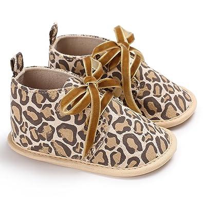 GEMVIE Zapatos Patucos De Bebé Unisex Primeros Pasos Antideslizante Suela Suave Marrón Leopardo Longuitud de pie 12cm DfaB7GAyd