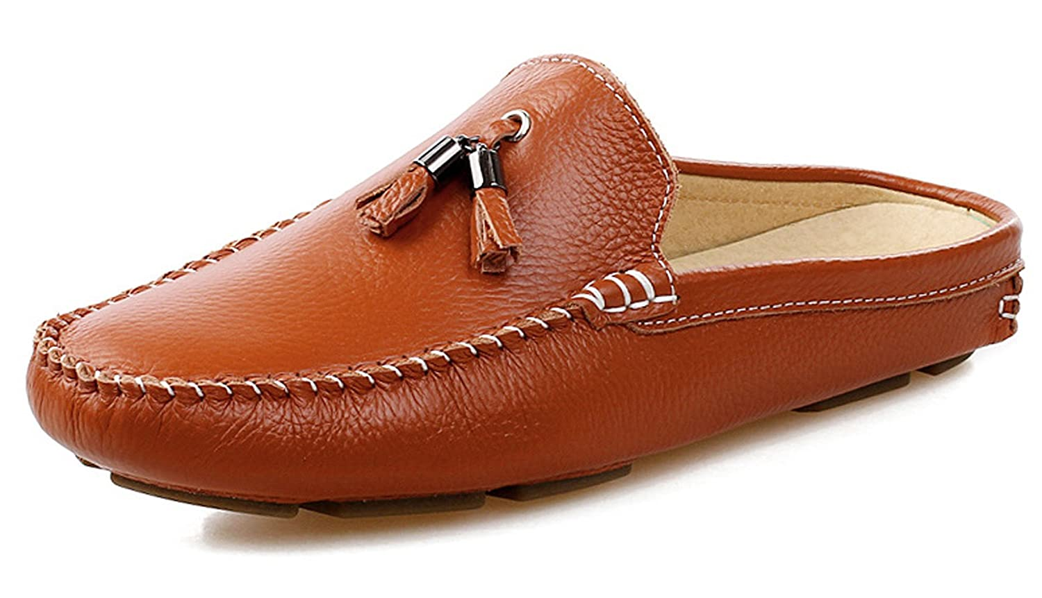 Amazon.com | Santimon Mens Slippers Mules Clogs Tassel Leather Comfortable Slip on Shoes Casual Loafters | Slippers