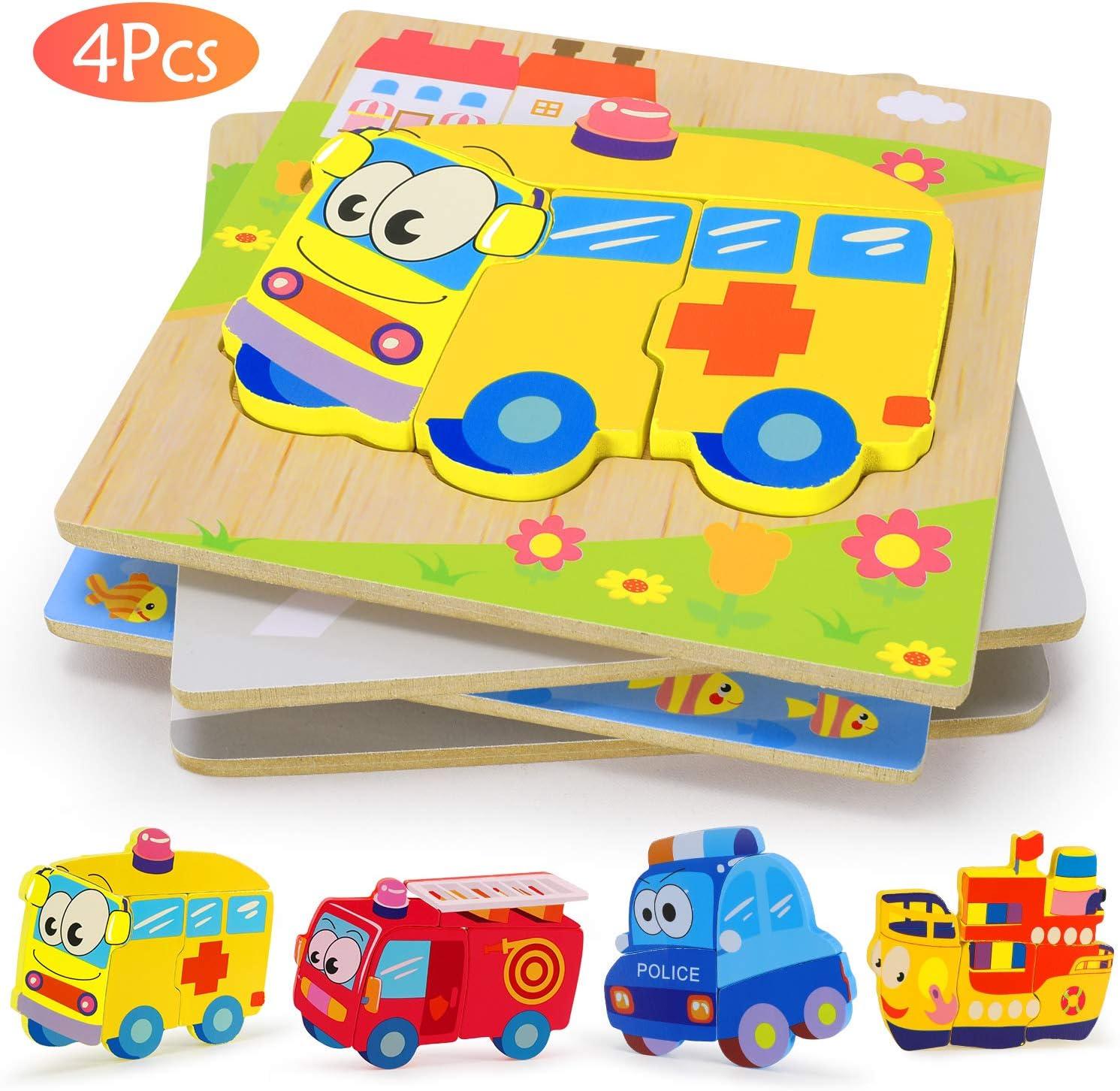 XDDIAS Puzzles de Madera Educativos, Juguetes Montessori para Bebé niños 1 2 3 4 5 6 años, Preescolar Juguetes Regalos, Regalo de cumpleaños, Navidad (4 Piezas)