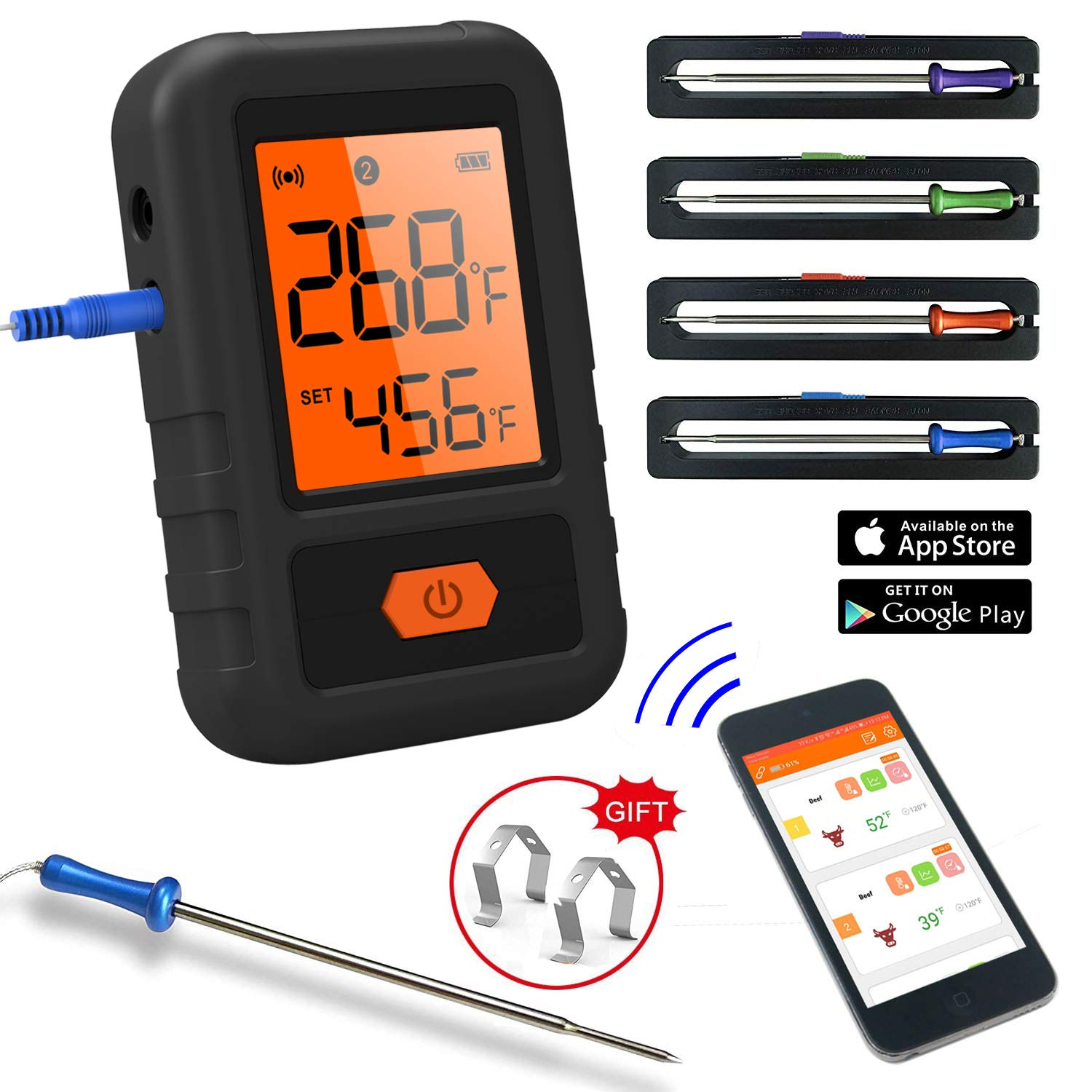 CloudBBQ Wireless Meat Thermometer Bluetooth Instant Read for Grilling Smoking Oven Kittchen Thermometer Food Cooking BBQ Smoker Thermometer Digital Remote with App 4 Probes (Black)