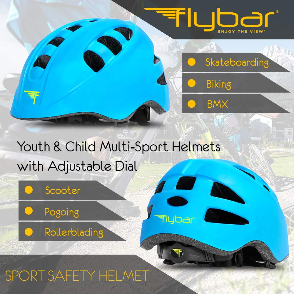 Biking BMX Dual Safety Certified CPSC /& EN1078 for Skateboarding L /& Multiple Colors Available Flybar Youth Child Multi-Sport Helmets for Kids with Adjustable Dial M S