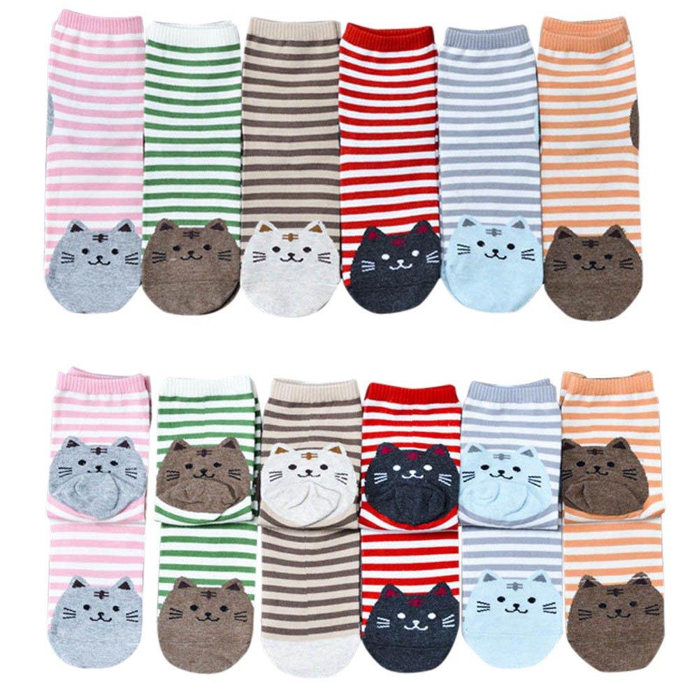 Cute 3D Animals Striped Cartoon Socks Women Cat Footprints Novelty Cotton Floor Socks