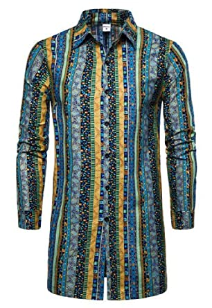 YYG Mens Loose Long Sleeve Longline Plus Size African Print Shirts