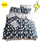 Girls Queen Full Size Bedding Sets Cotton Boys Elephant Duvet Cover Set with Zipper Closure Ties Grey Navy Blue for Kids Adults Toddler Cartoon Animal Polka Dot Teen Bedding Duvet Cover Full Queen