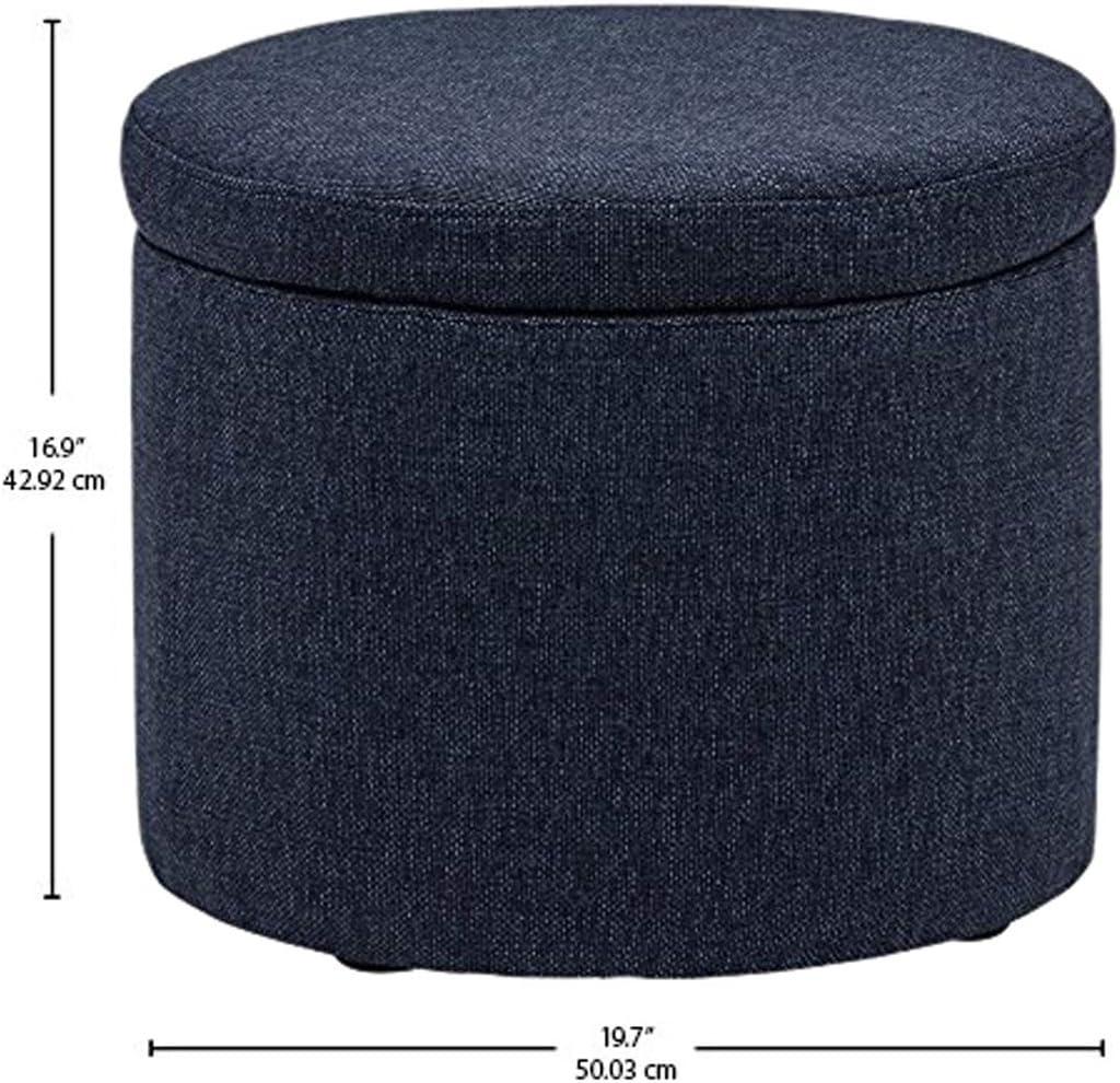 Black 19.7 W Rivet Madison Modern Vegan Leather Round Lift-Top Storage Tray Ottoman Pouf
