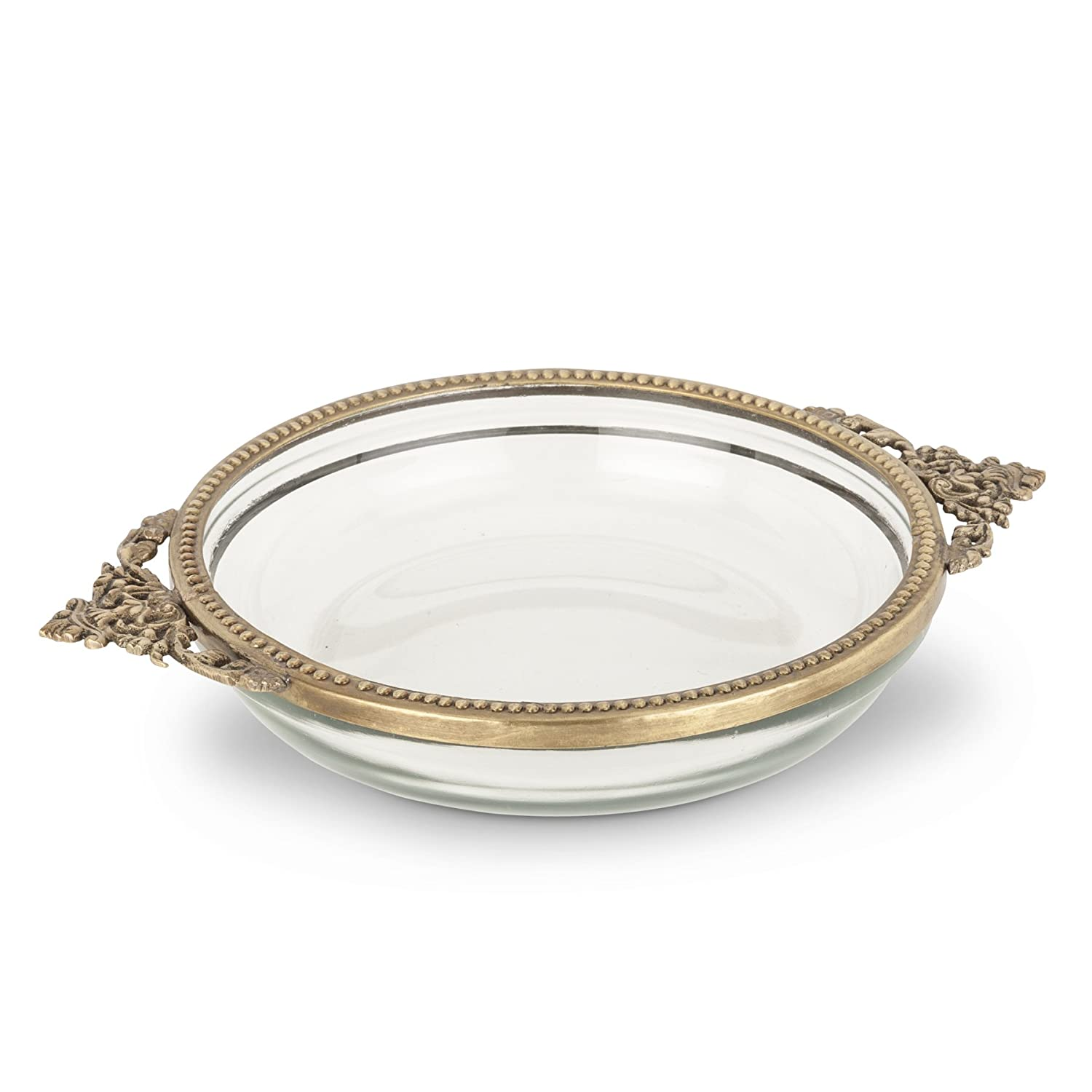 Abbott Collection Home Low Shallow Dish with Handles-6D Haq Brothers 34-BOUDOIR/0461