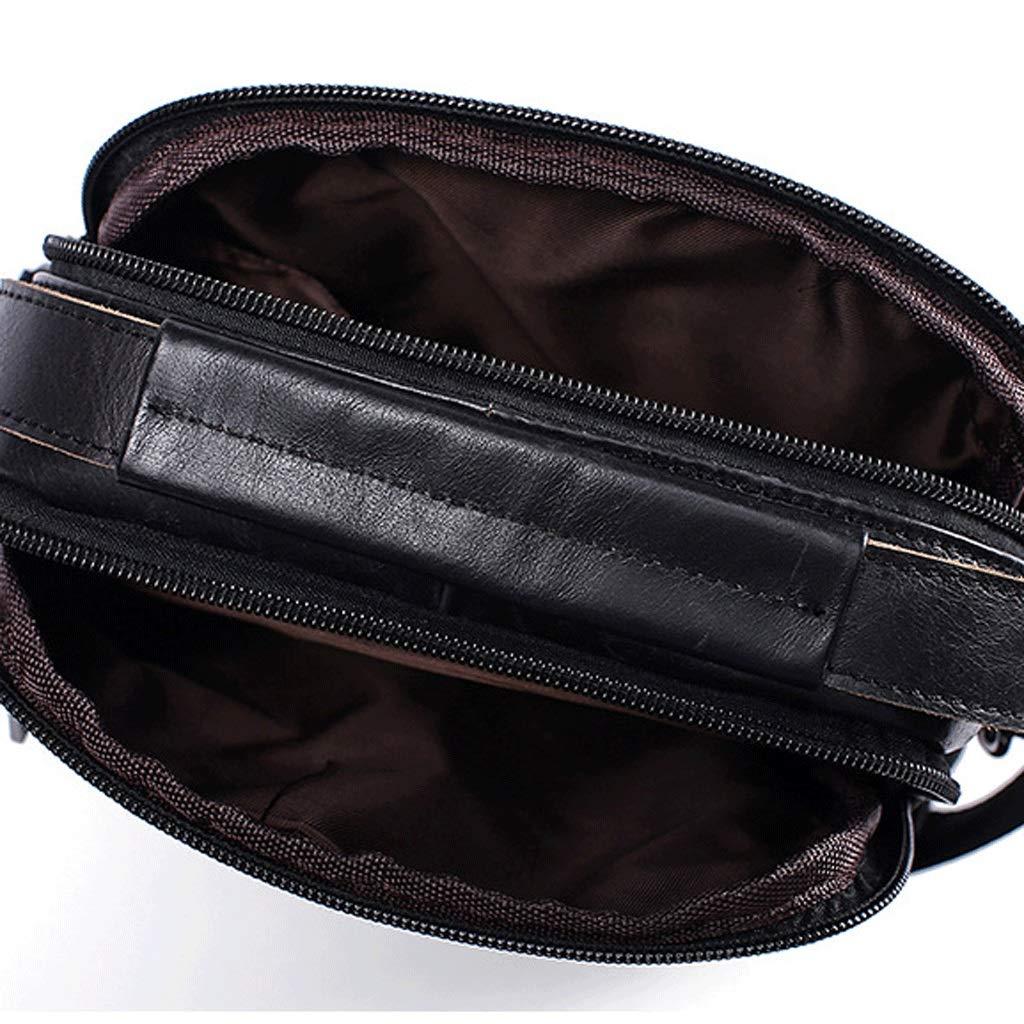 Mens Bag Retro Casual Mens Shoulder Bag Messenger Bag Color : Black, Size : S