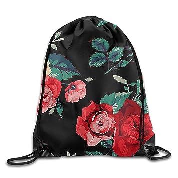 Beautiful Rose Pattern Drawstring Bags Portable Backpack ...