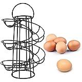 Vencer Deluxe Modern Spiraling Design Metal Freestanding Egg Skelter/Dispenser Rack (Black) VKO-001