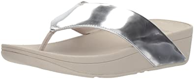 cfc350fbbd96 FitFlop Women s Swoop Toe-Thong Sandals Silver Mirror 10 ...