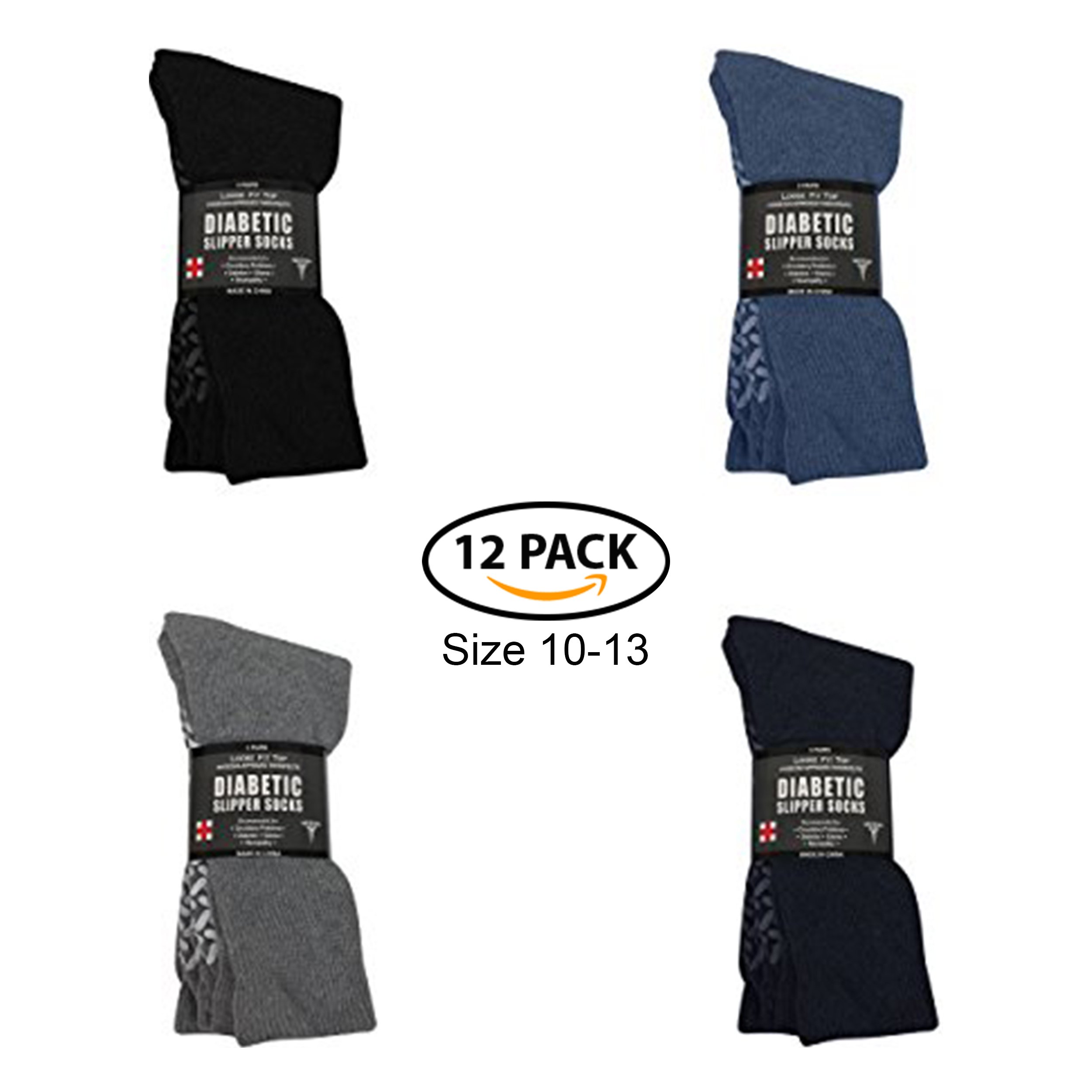 Diabetic Socks - Non Skid Hospital Loose Fitting Slipper Socks With Gripper Bottoms - 12 Pack Savings - Gripper socks - Mens Size 10-13 (3 Black, 3 Gray, 3 Navy, 3 Royal)