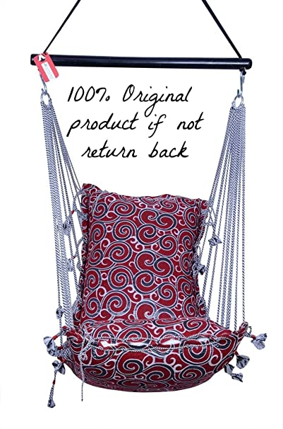 Kkriya Home DecorJumbo Hammock N Swing In Red & Silver Ring Design (Black/Red, King)