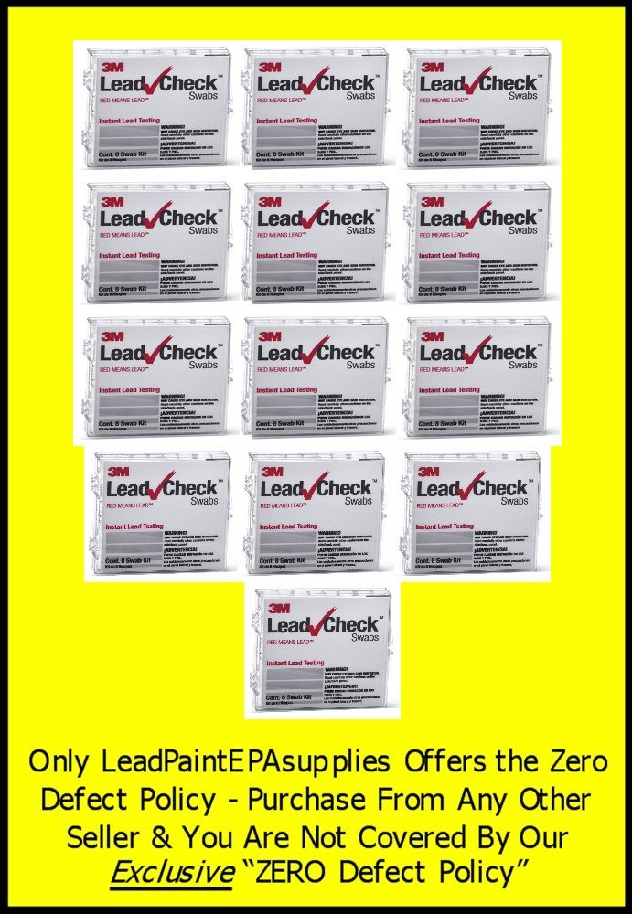 3M, 104 Swab 3M LEADCHECK Lead Tests with verification cards (13-8 packs) - Every swab is checked prior to being shipped for defects - 100% ready to use. LC-108S10C
