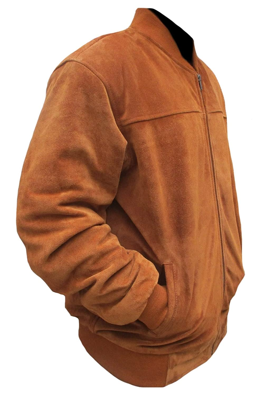 coolhides Mens Fashion Suede Leather Stylish Brown Jacket at Amazon Mens Clothing store: