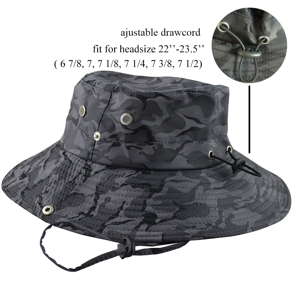 e91efe96620204 Amazon.com : CAMOLAND Camouflage Outdoor Fishing Boonie Hat with Wide Brim  UV Protection Summer Safari Sling Bucket Cap UPF 50+ (Black) : Sports &  Outdoors