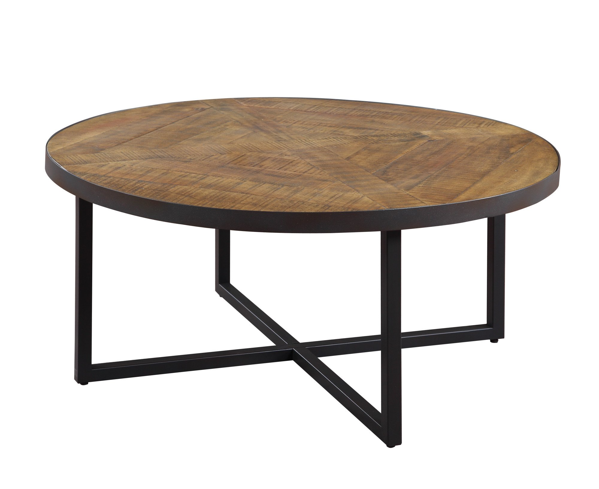 Emerald Home Denton Antique Pine Coffee Table with Round, Pieced Top And Metal Base by Emerald Home Furnishings