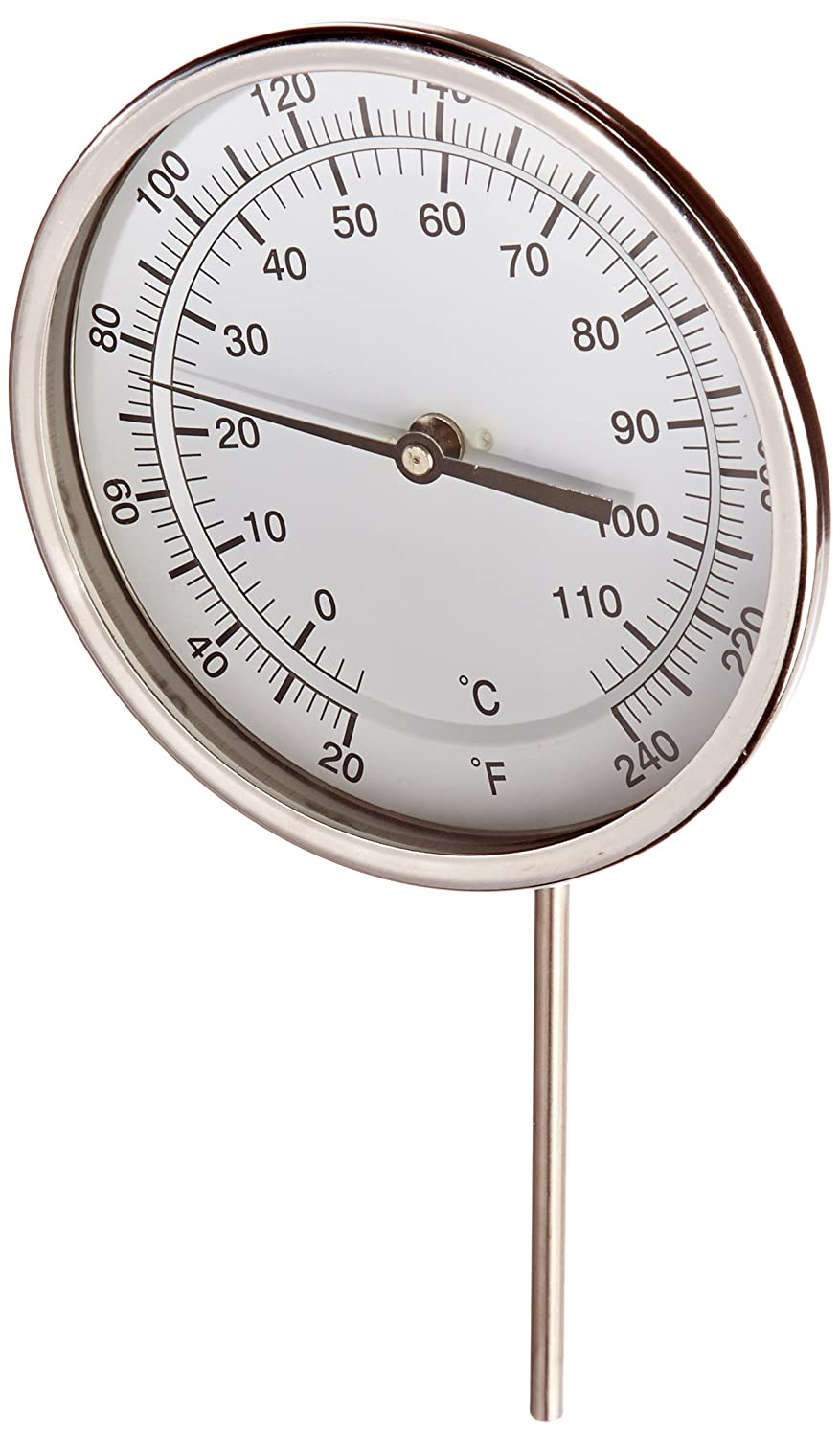 """20//240/°F and -7//116/°C 316 Stainless Steel Stem Bimetal Thermometer 6 Stem Length PIC Gauges Stainless Steel Case Adjustable Angle Connection PIC Gauge B5A6-JJ 5/"""" Dial Size 6 Stem Length"""